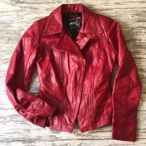 Oryx Leather Red Leather Biker Jacket